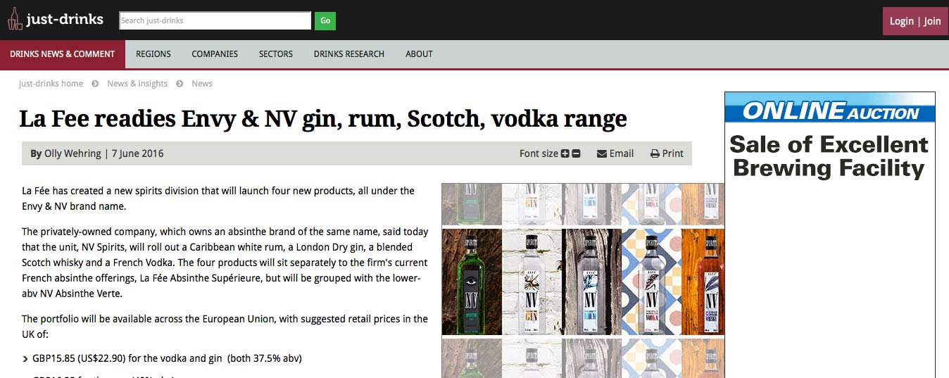 Excerpt of Just Drinks article about ENVY Spirits launch