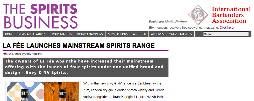 Image of The Spirits Business article of launch of ENVY Spirits