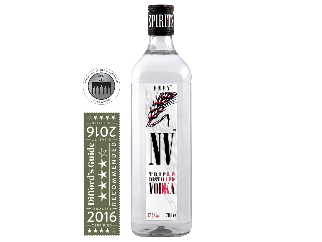 ENVY / NV Vodka Silver medal winner at Berlin International Spirits Competition & Diffords Guide 4 Star Award