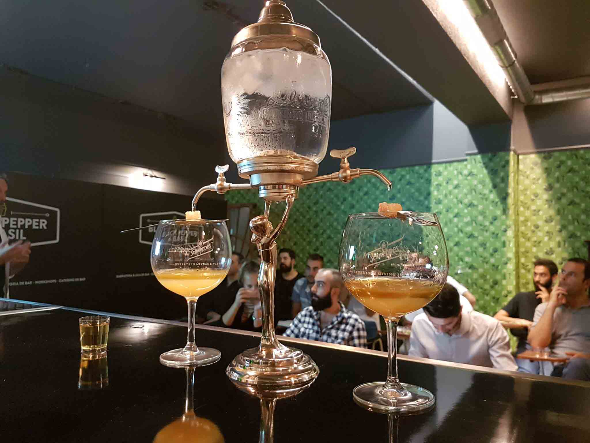 La Fée Absinthe fountain with two glasses