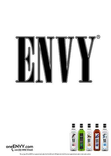ENVY Advert with word ENVY in middle of a blank page from Less is More campaign